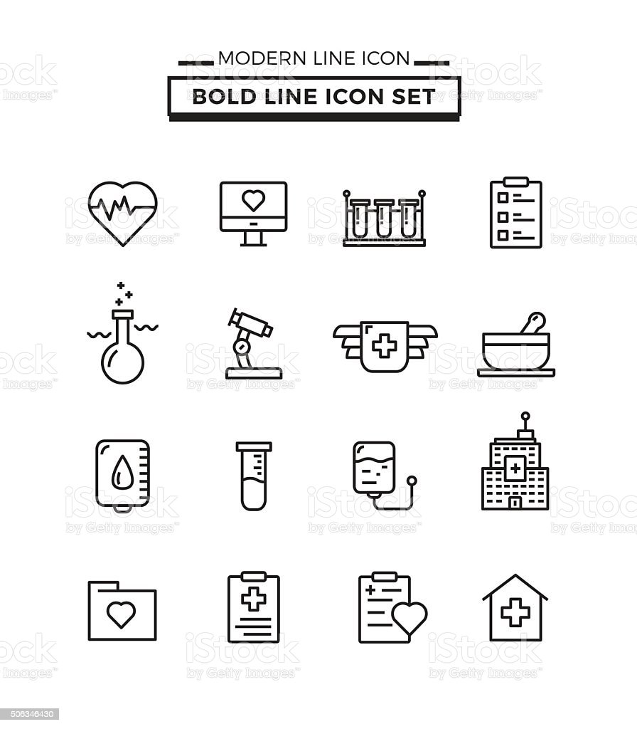 Bold lines icons set of Medical vector art illustration