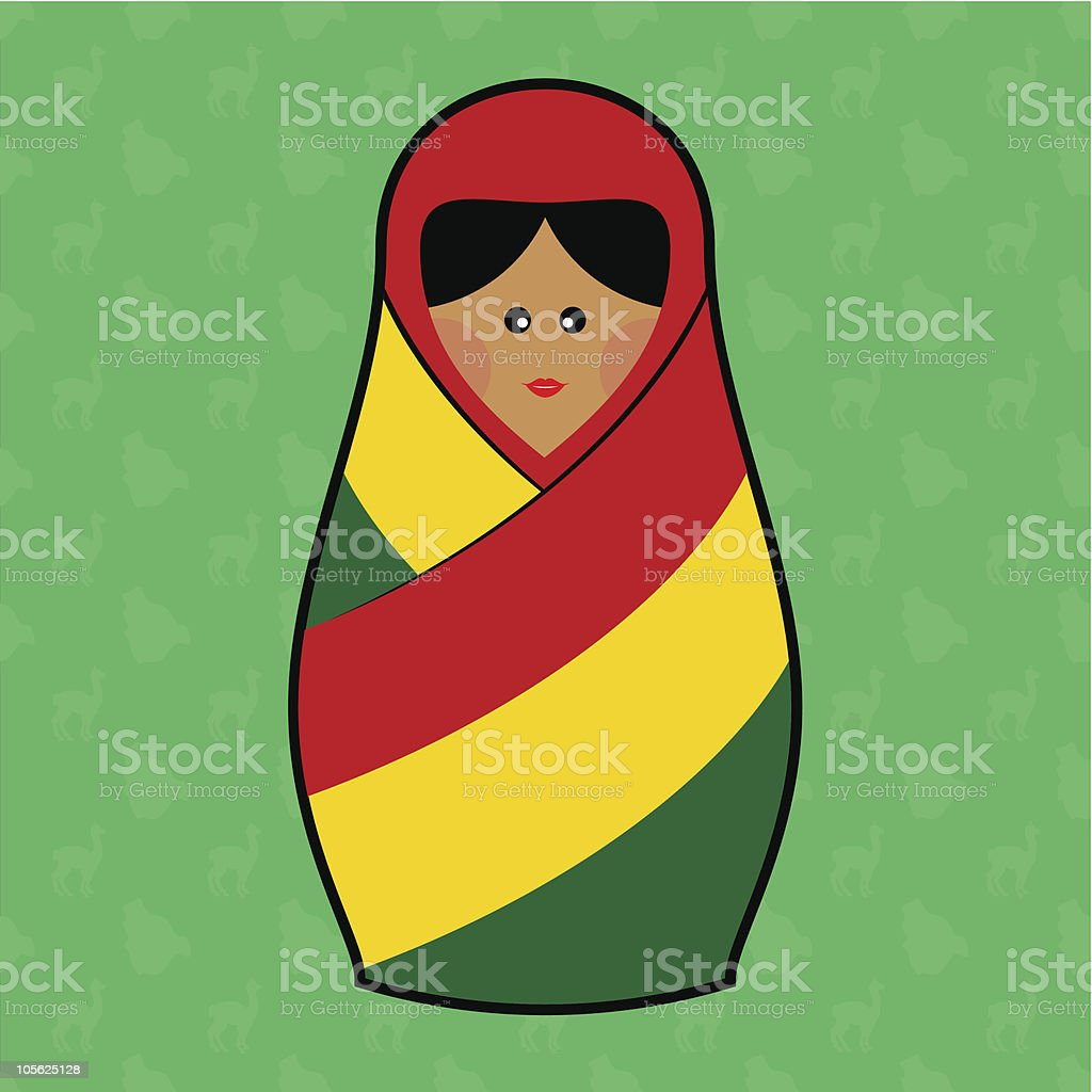 Bolivia - Matryoshka doll royalty-free stock vector art