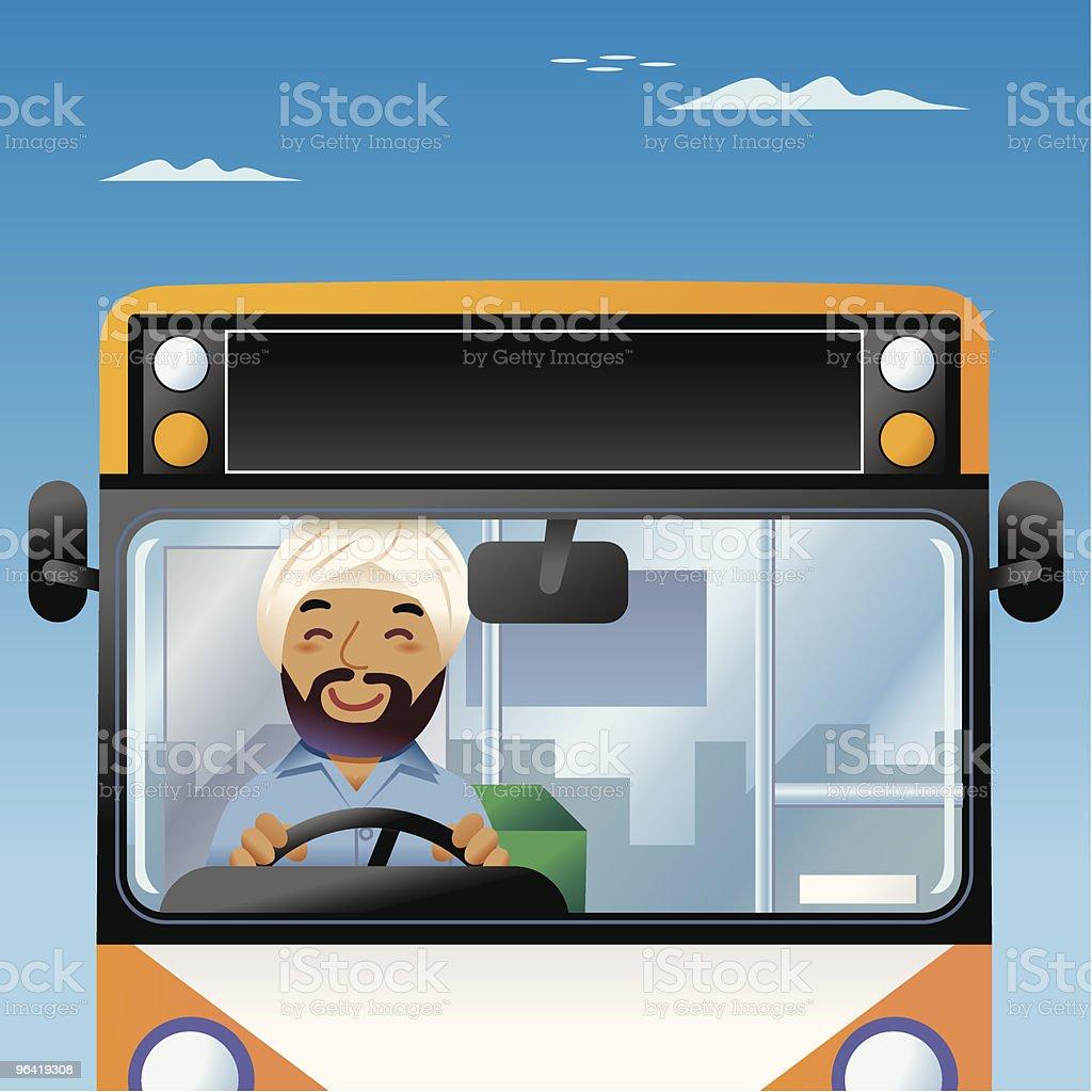 Bollywood Bus driver vector art illustration