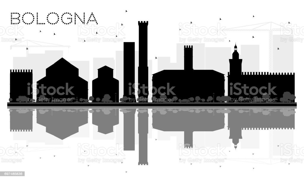 Bologna City skyline black and white silhouette with Reflections. vector art illustration