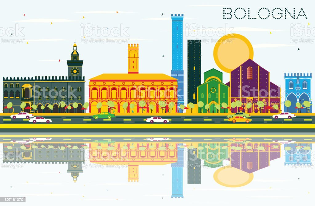 Bologna Skyline with Color Landmarks, Blue Sky and Reflections. vector art illustration