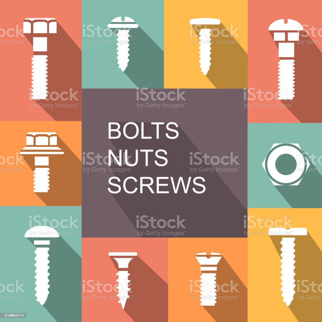 Bolts, nuts and screws colored icons vector vector art illustration