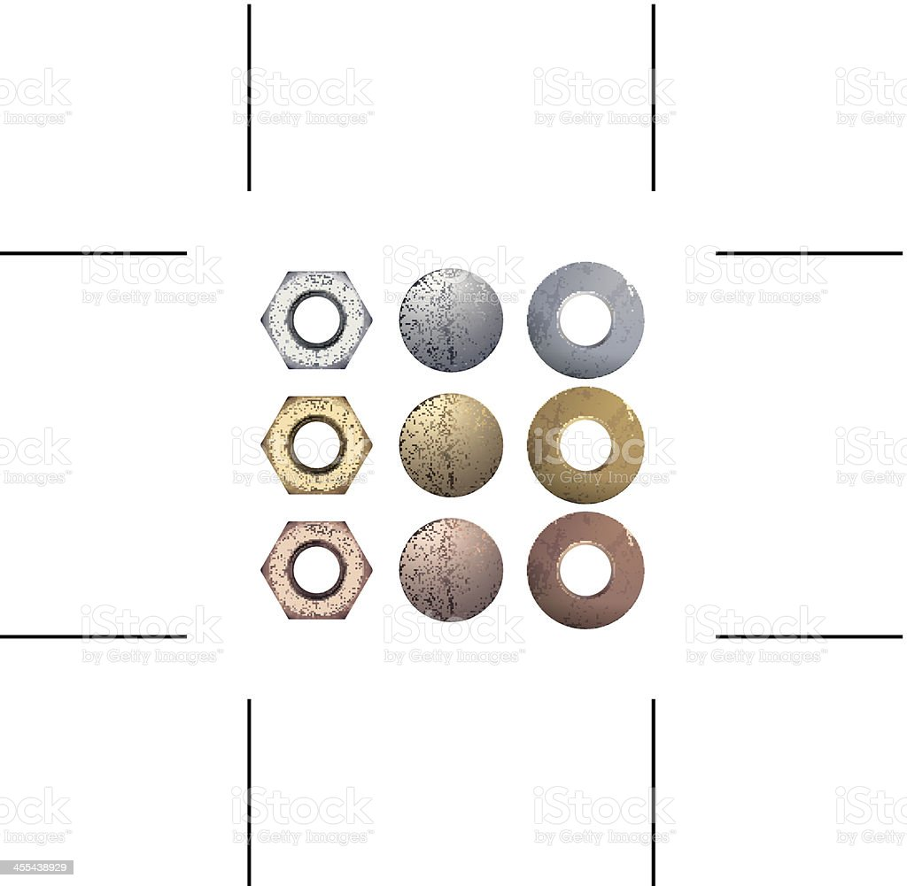 bolts, nuts and washers vector art illustration
