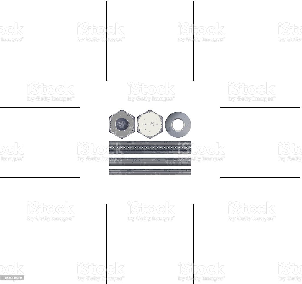 bolts, nuts, rods and washer royalty-free stock vector art