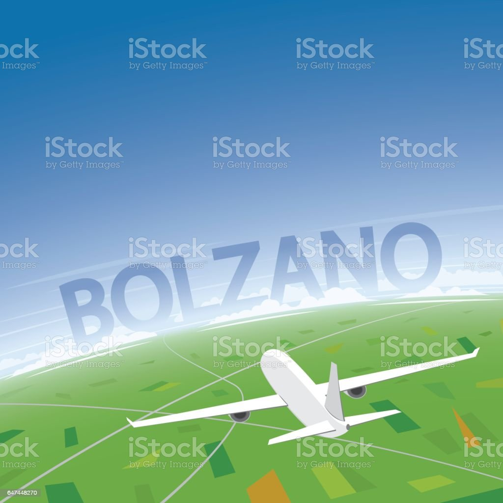Bolzano Flight Destination vector art illustration