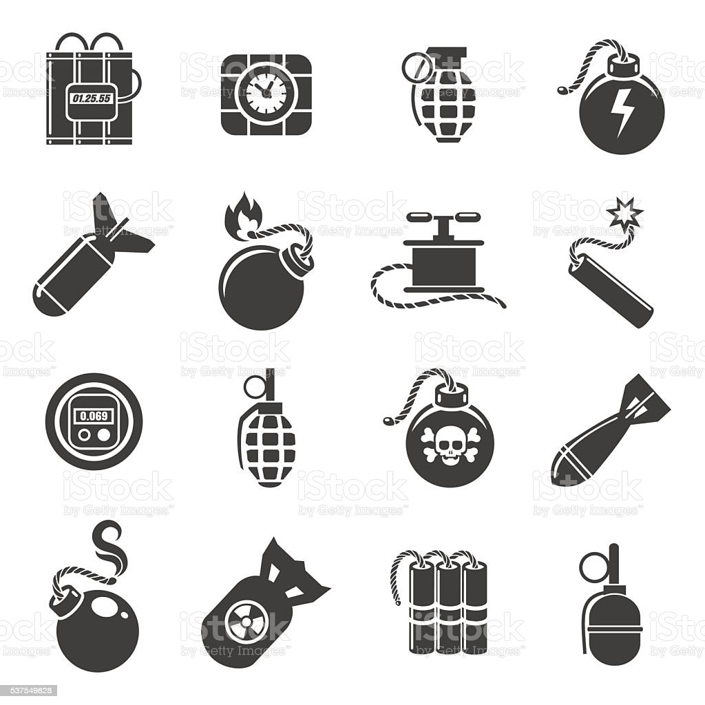 Bomb and explosives icons vector art illustration