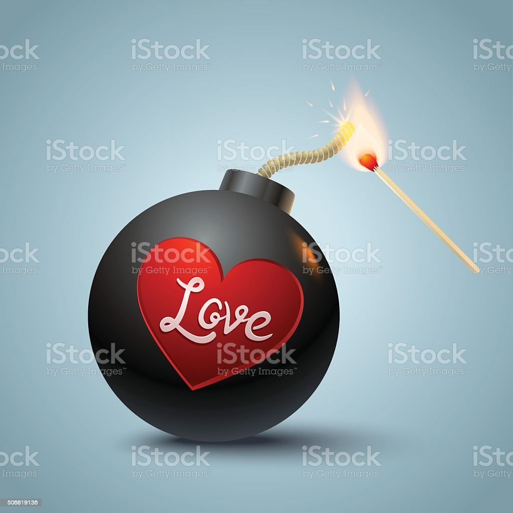 Bomb and match vector art illustration