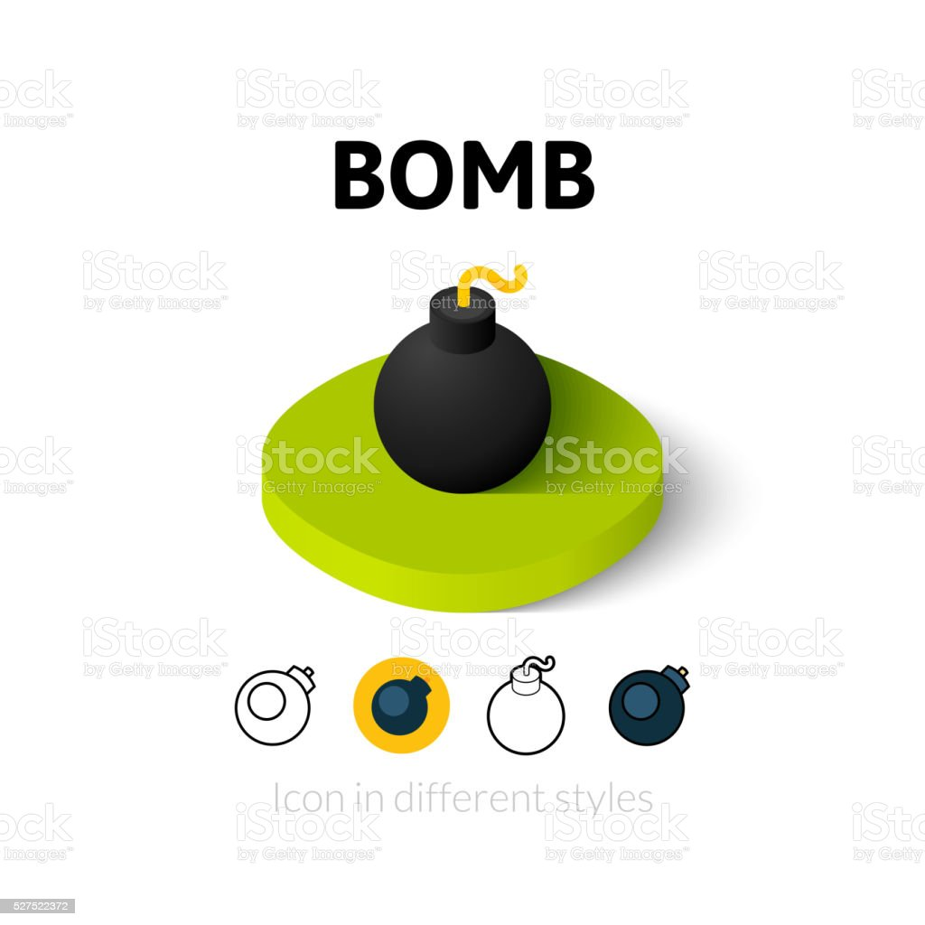 Bomb icon in different style vector art illustration