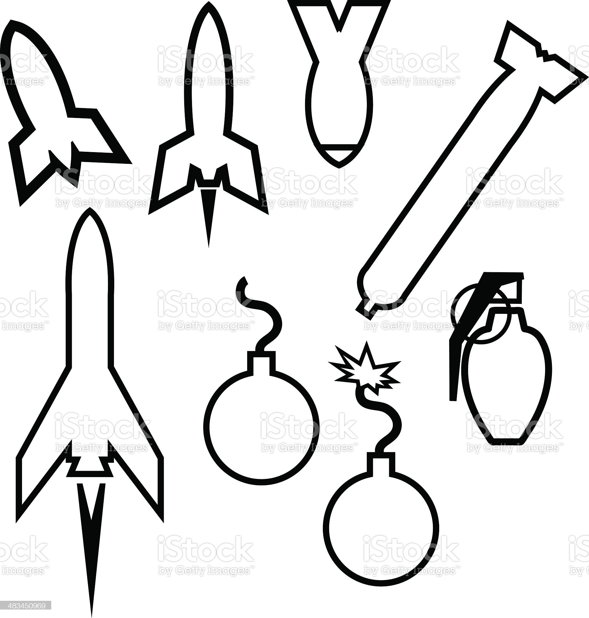 Bomb Icons and Outlines - 1 credit royalty-free stock vector art