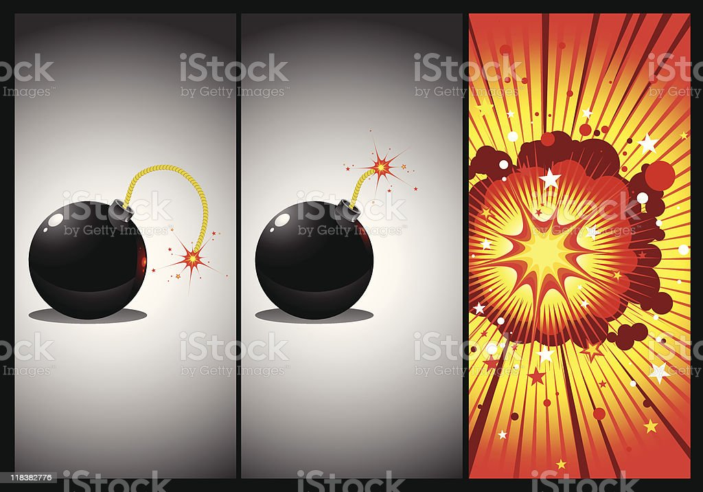 bomb in three actions royalty-free stock vector art