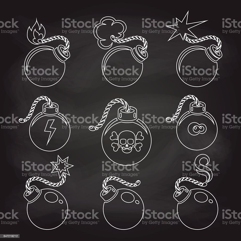 Bomb line icons set on chalkboard vector art illustration