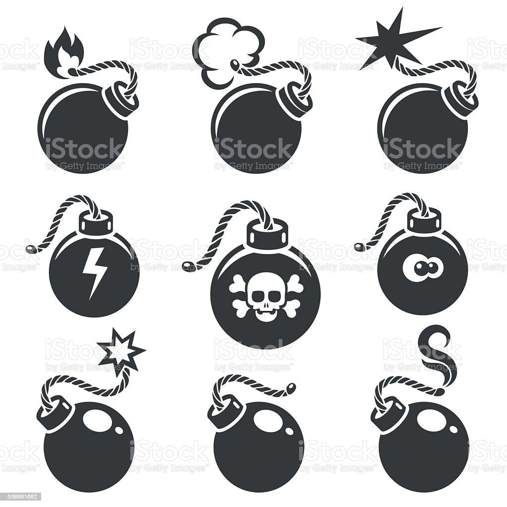 Bomb signs or bomb symbols vector art illustration