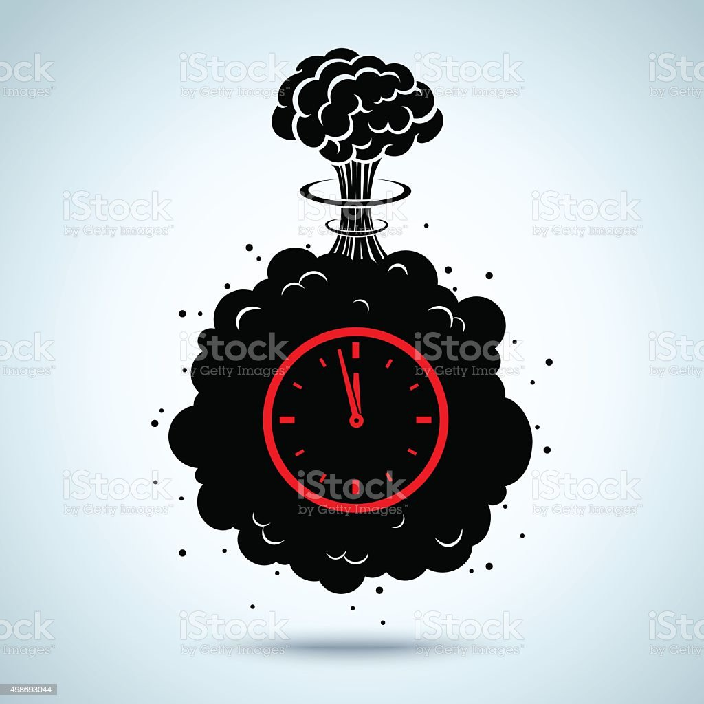 bomb with a timer vector art illustration