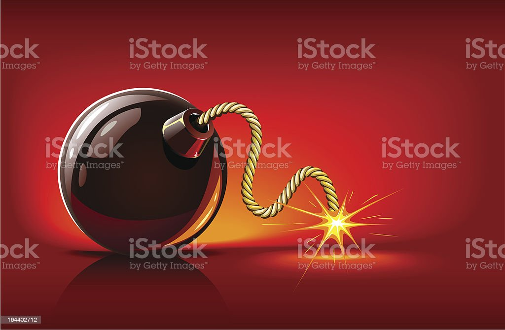 bomb with burning bickford's fuse vector art illustration