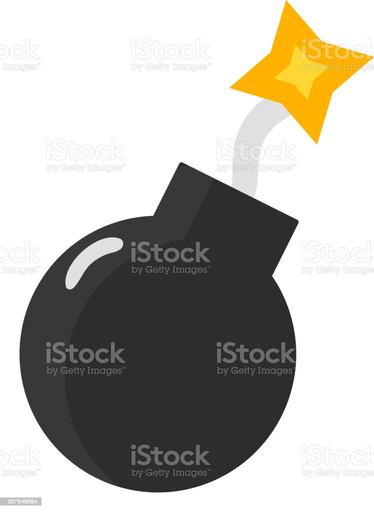 Bomb with burning wick vector art illustration