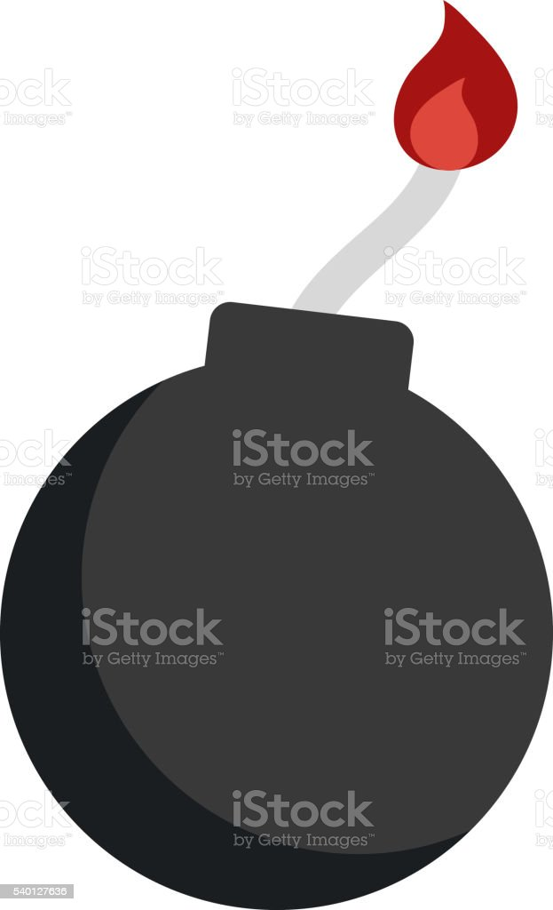 Bomb with burning wick weapon flat vector. vector art illustration