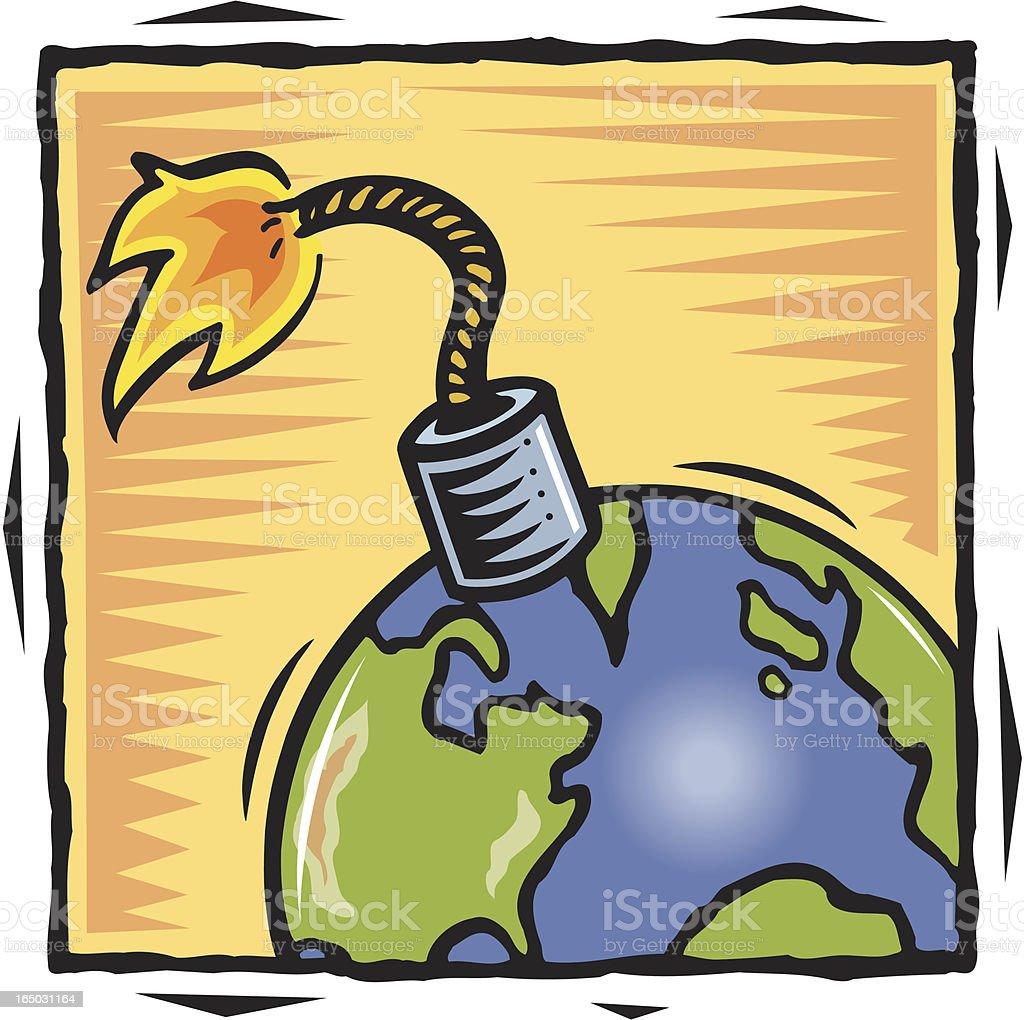Bomb world vector art illustration