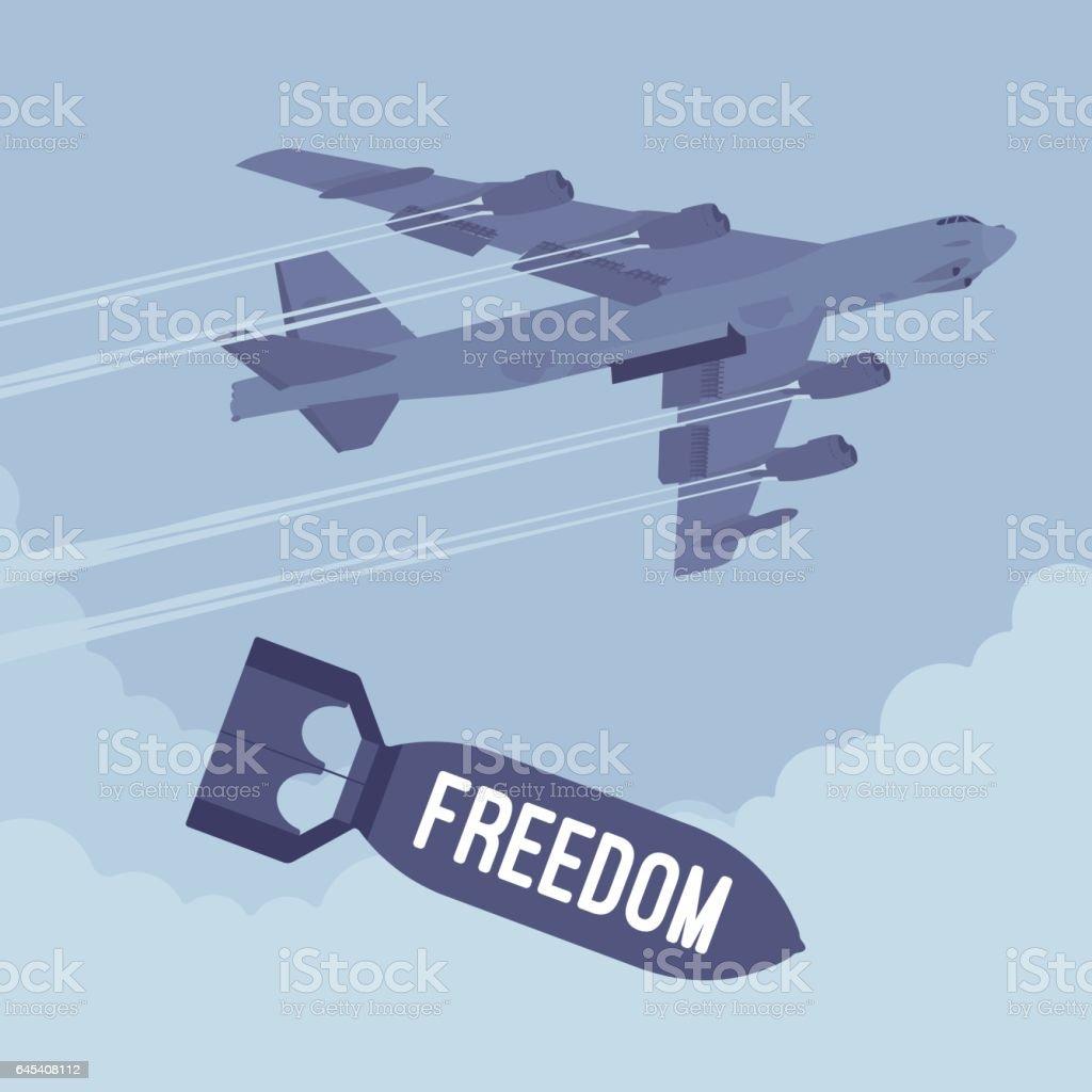 Bomber and freedom bombing vector art illustration