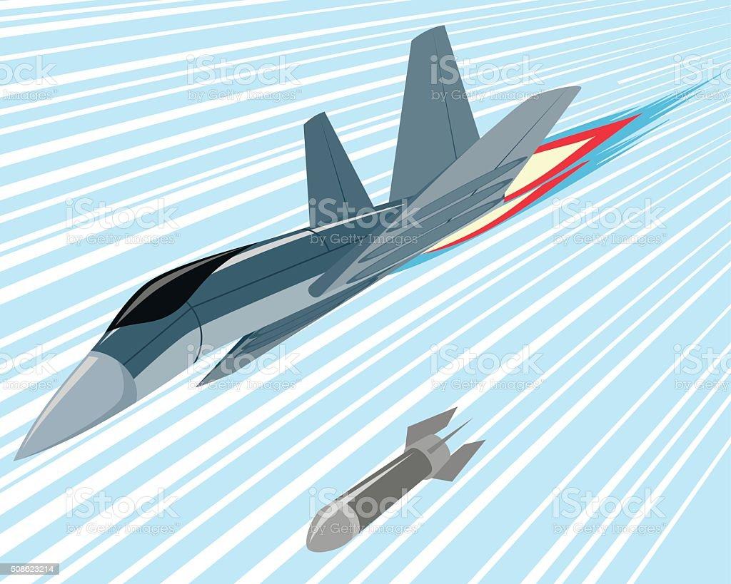 Bomber lobbing rockets vector art illustration