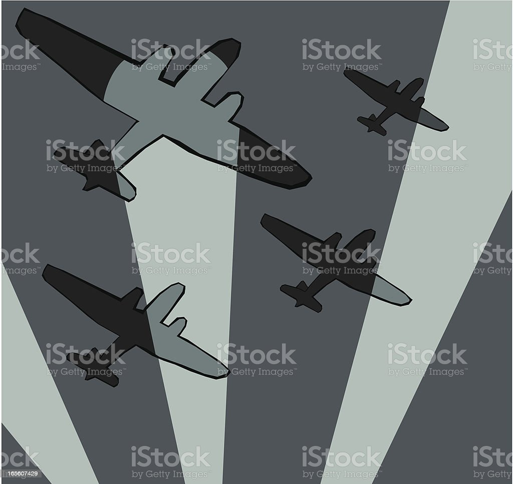 Bombers and searchlights royalty-free stock vector art