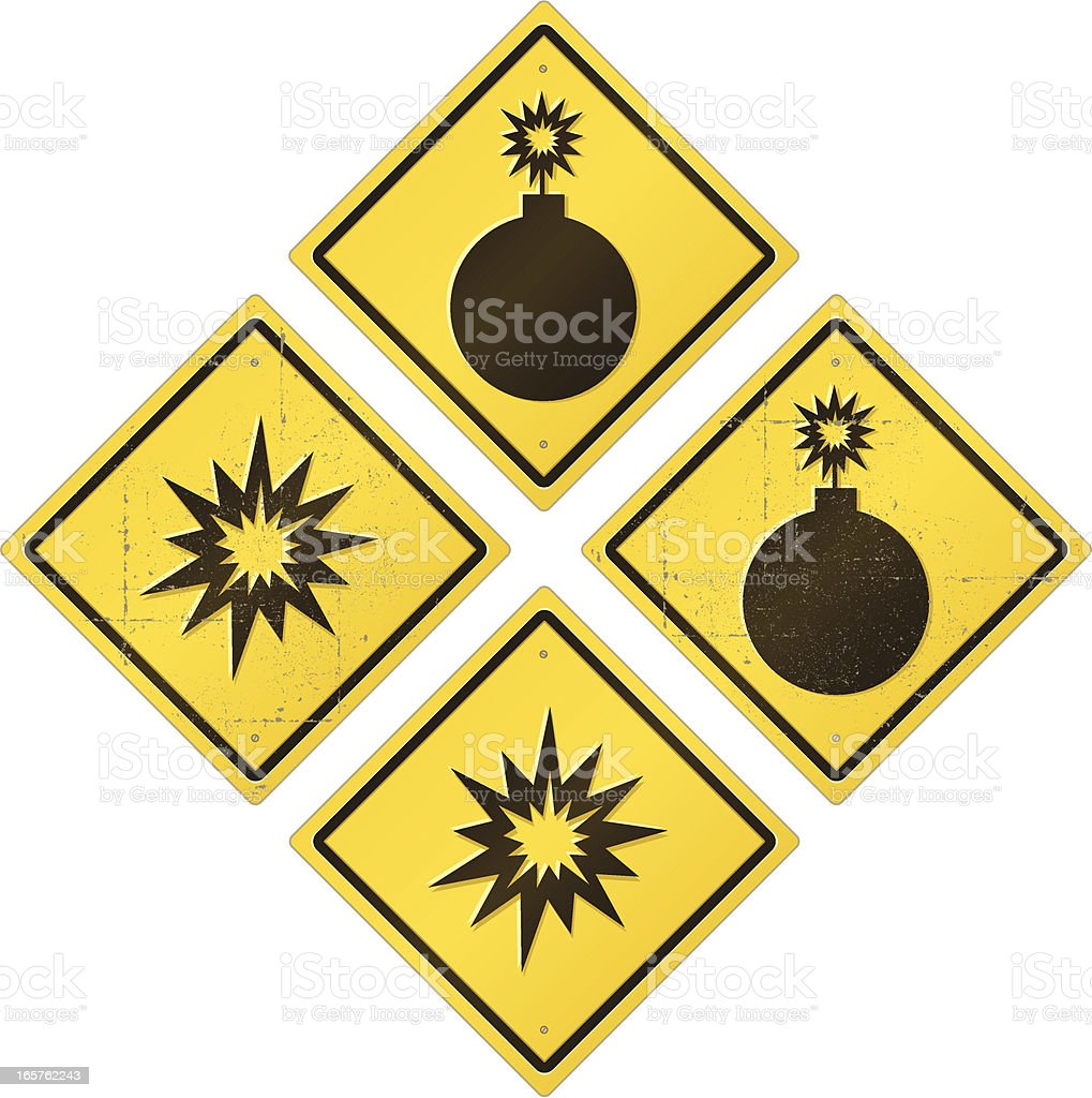 Bombs and Blasts Road Sign Set royalty-free stock vector art