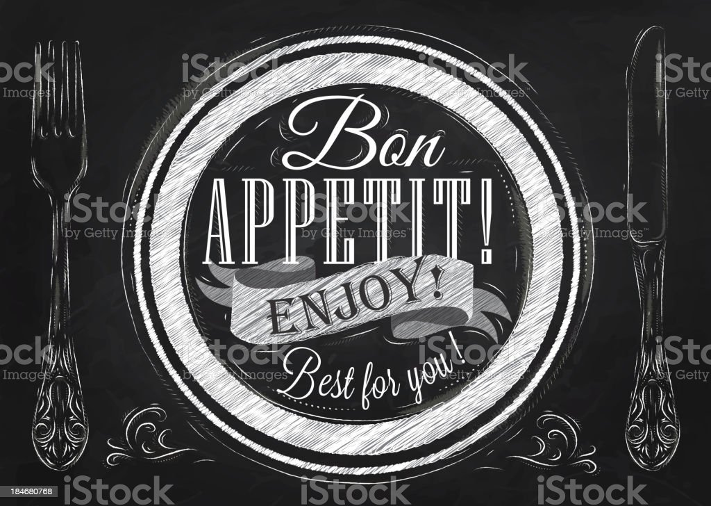 Bon appetit! Lettering on a plate. Drawing with chalk. vector art illustration