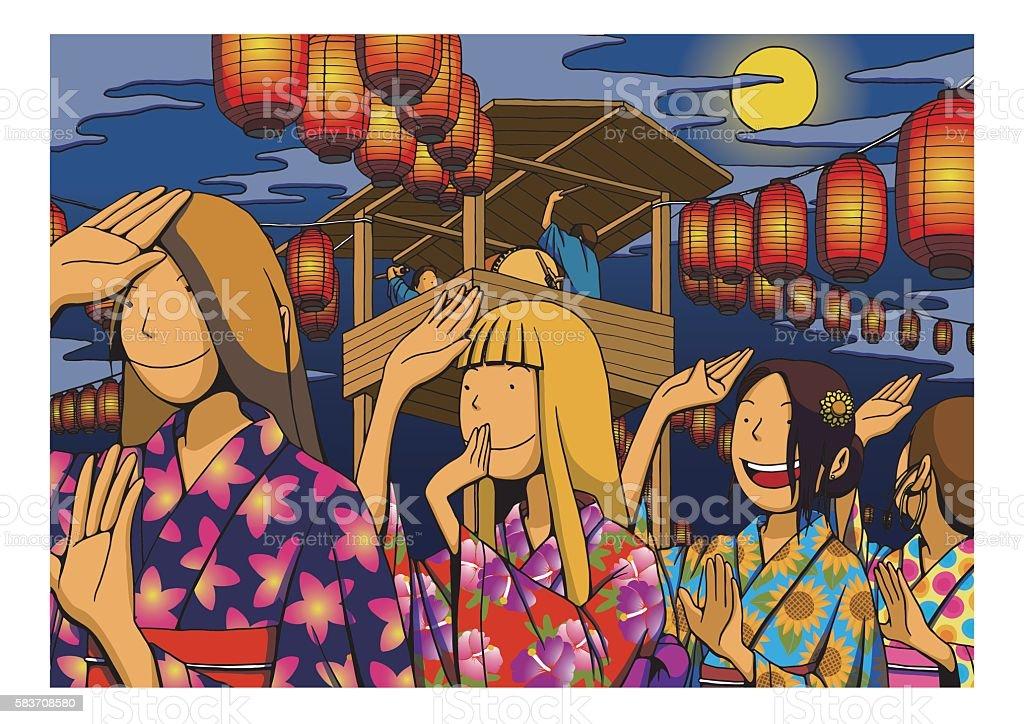 Bon Festival dance vector art illustration