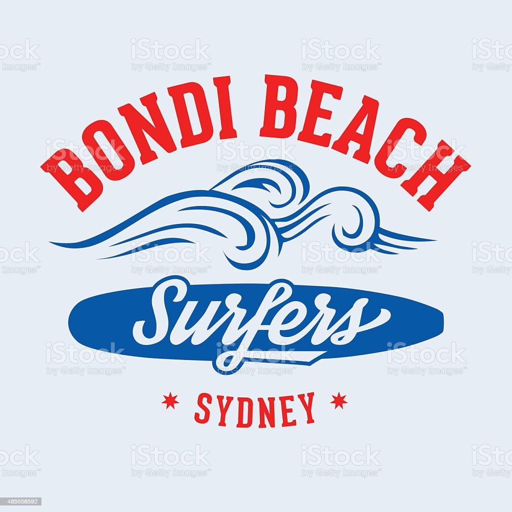 Bondi Beach Surfers vector art illustration