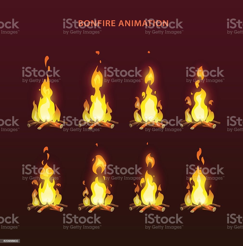 Bonfire animation sprites vector art illustration