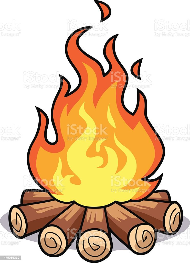 Bonfire vector art illustration