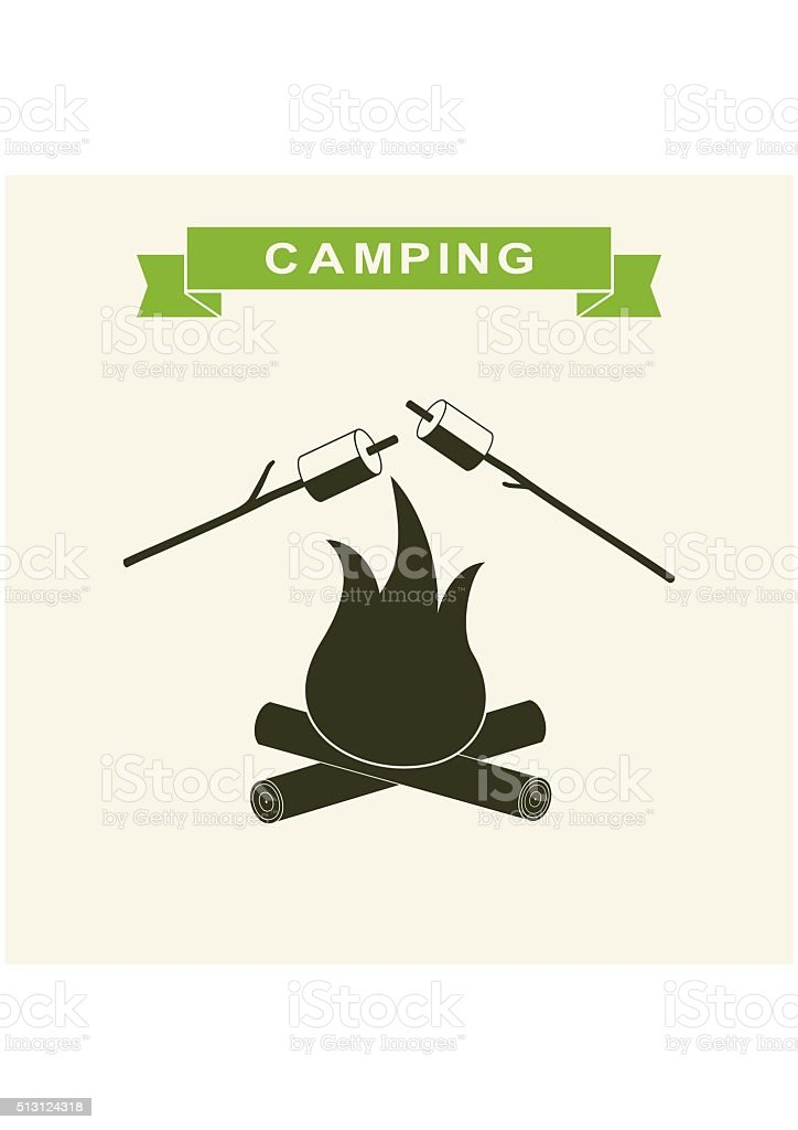 Bonfire with marshmallow Icon. Camping grill flat. Outdoor campfire night. vector art illustration