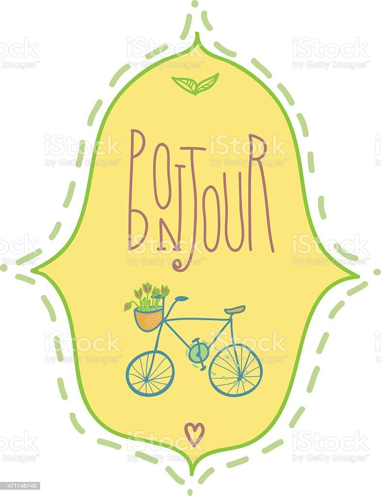 Bonjour Illustration with bicycle and flowers vector art illustration