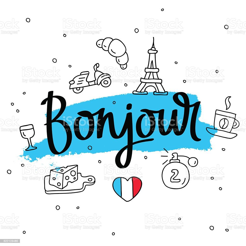 Bonjour. Word hello in French. Fashionable calligraphy. vector art illustration