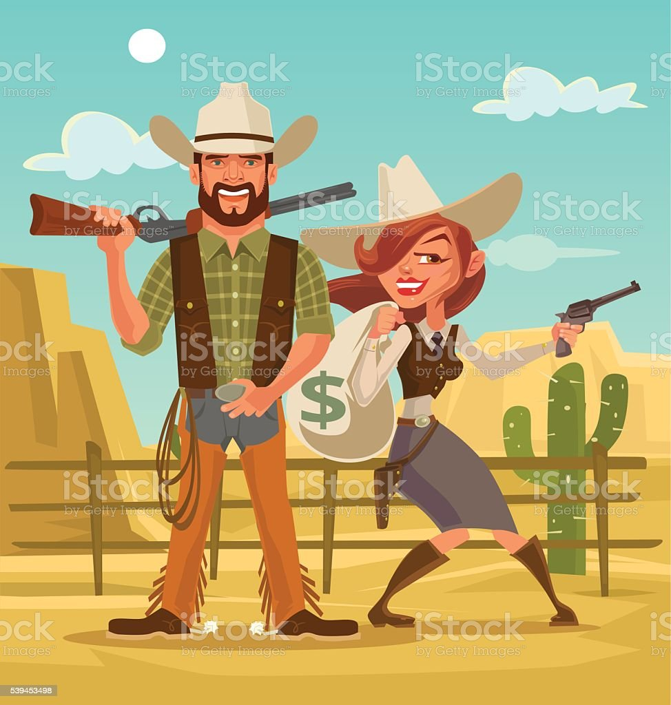 Bonnie and Clyde. Woman and man thieves. Western robbers vector art illustration
