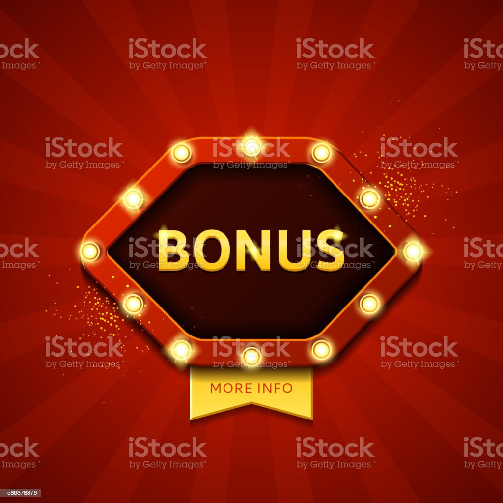 Bonus retro banners with glowing lamps royalty-free stock vector art