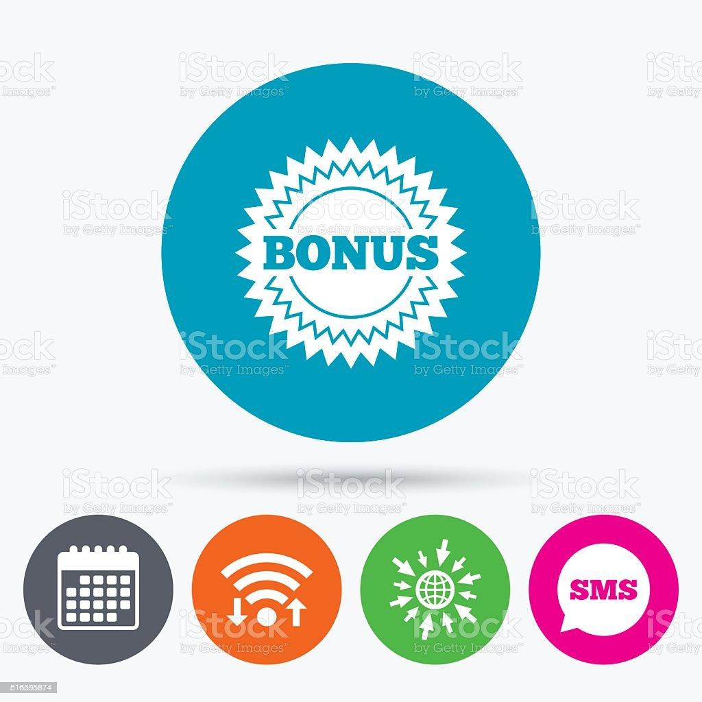 Bonus sign icon. Special offer star symbol vector art illustration