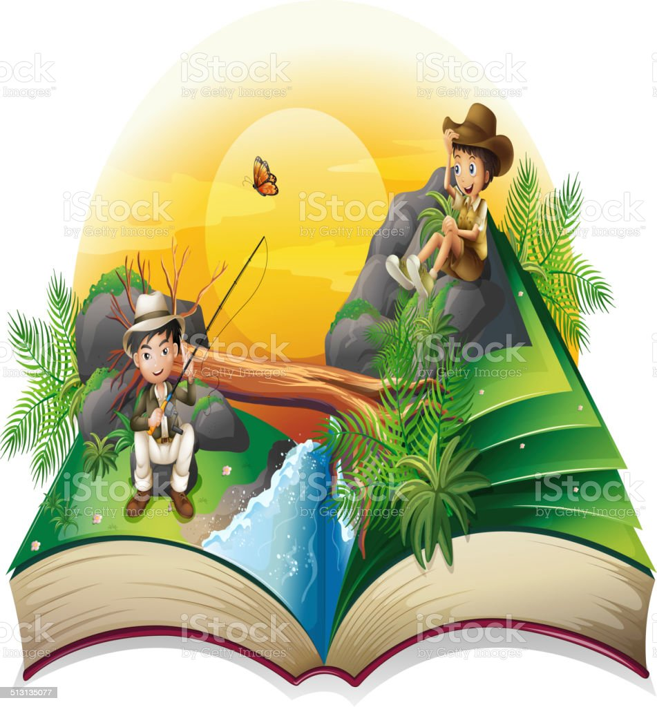 Book about two explorers vector art illustration