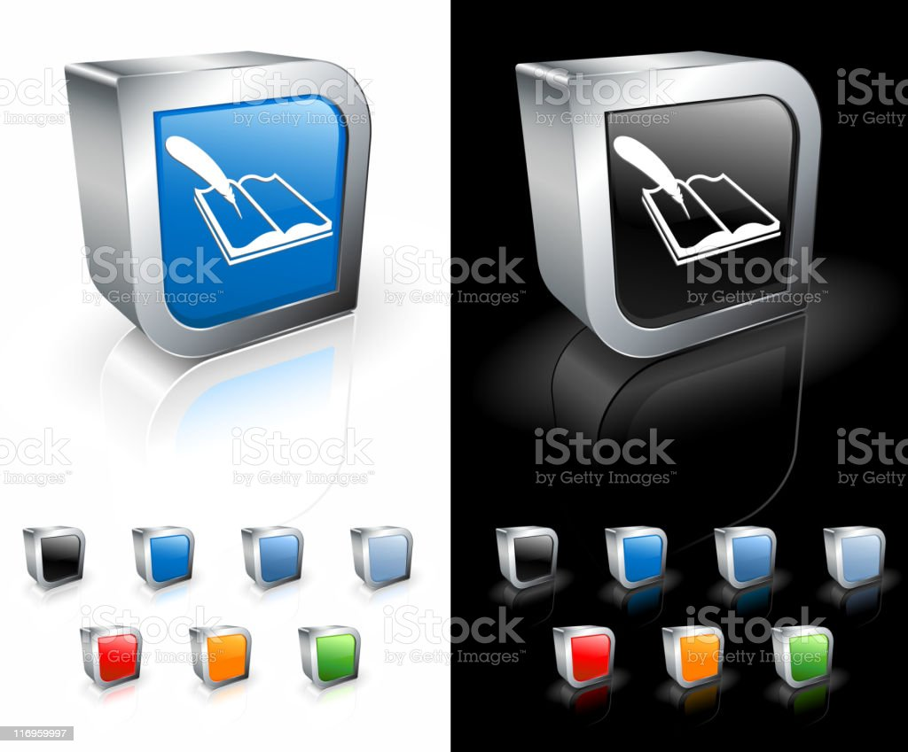 book and feather 3D icon royalty-free stock vector art