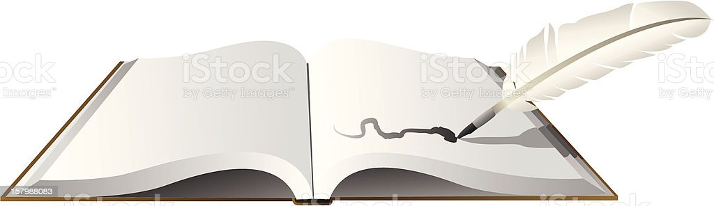 Book and Quill vector art illustration