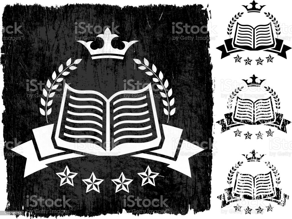 Book Badge on Black royalty free vector Background royalty-free stock vector art