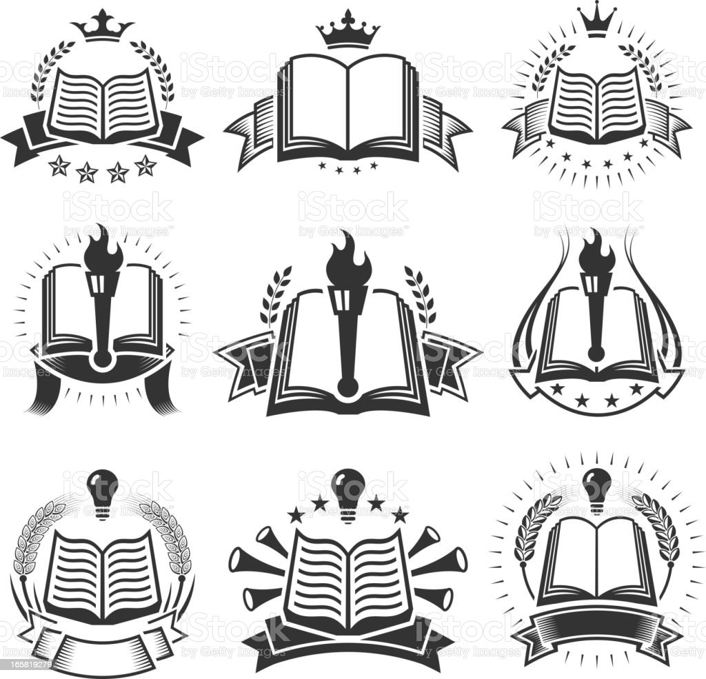 Book Badges black and white royalty free vector icon set vector art illustration