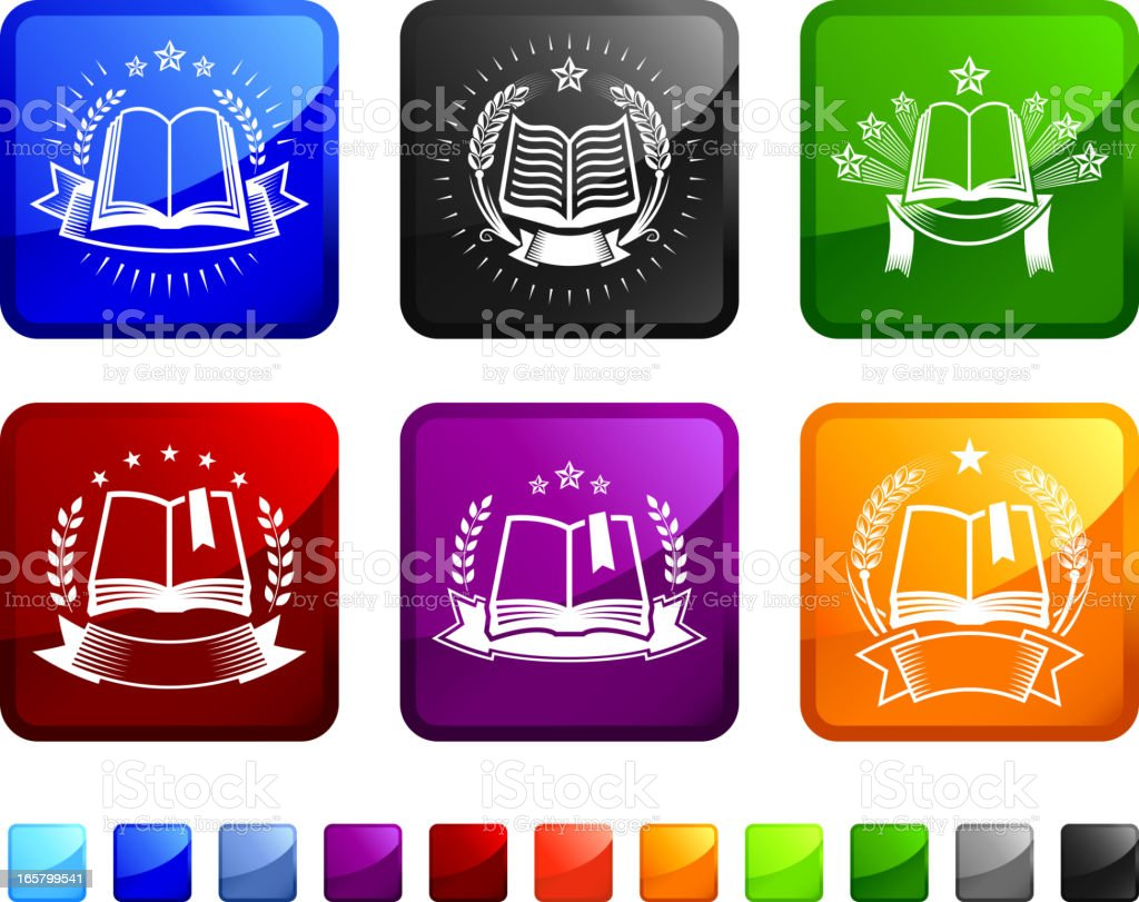 Book Badges royalty free vector icon set stickers royalty-free stock vector art