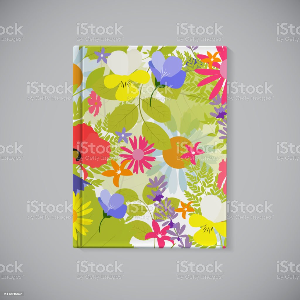 Book Cover. Abstract Natural Spring Pattern with Flowers and Lea vector art illustration