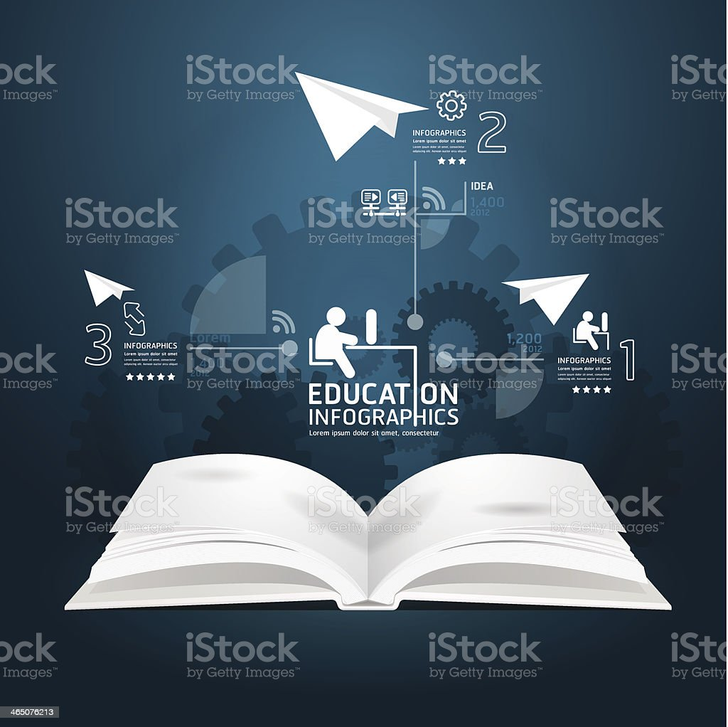 book diagram creative paper cut style  template royalty-free stock vector art
