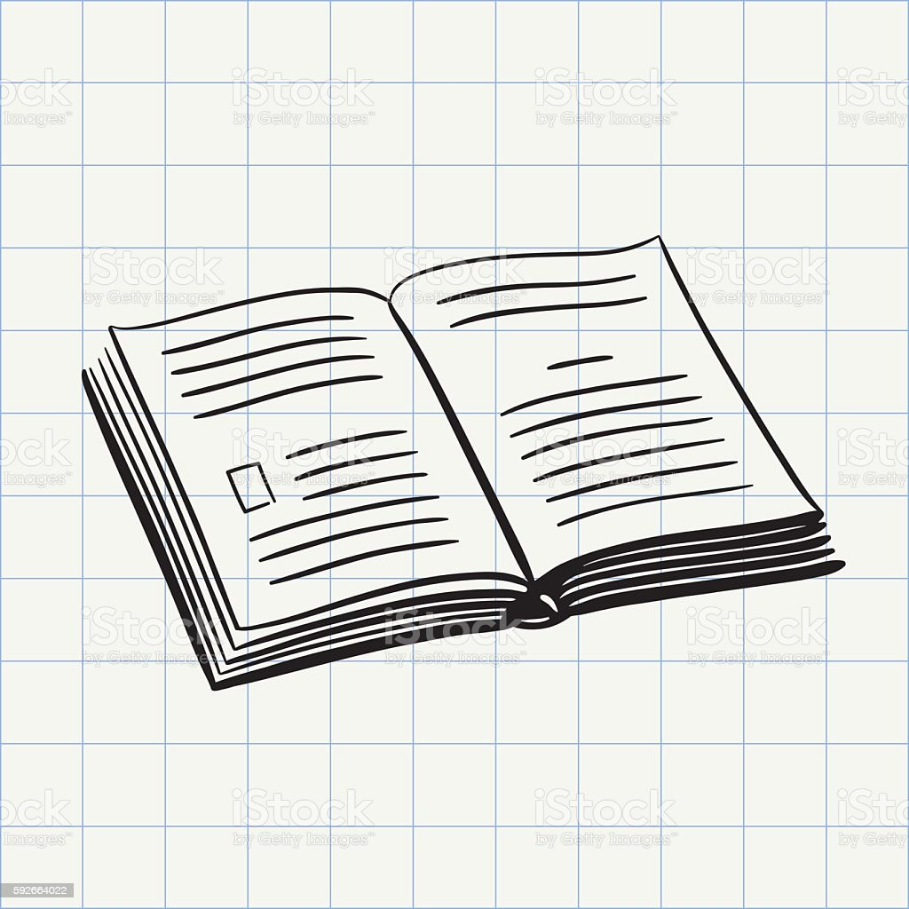 Book doodle icon vector art illustration