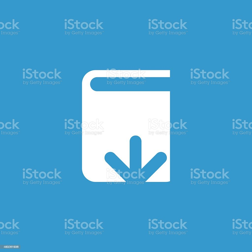 book download icon, isolated, white on the blue background vector art illustration