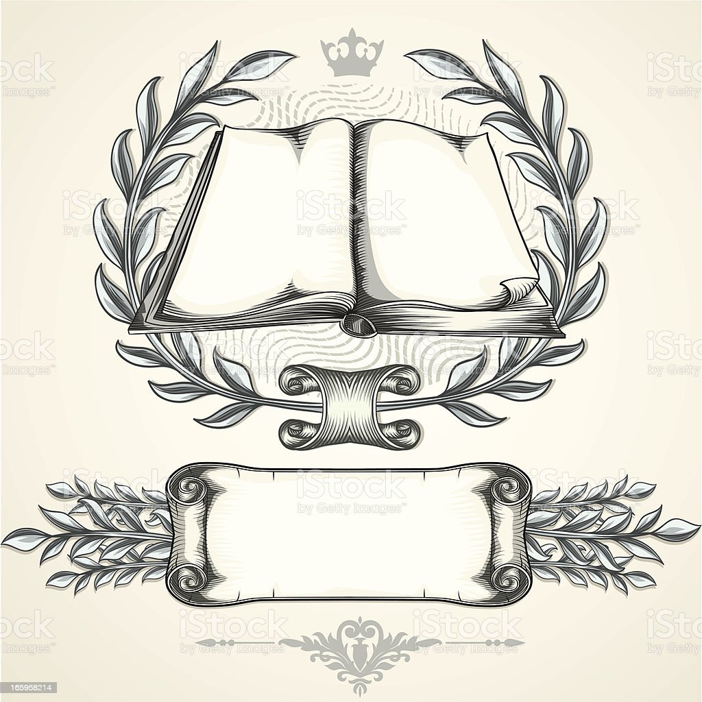 Book emblem & scroll royalty-free stock vector art