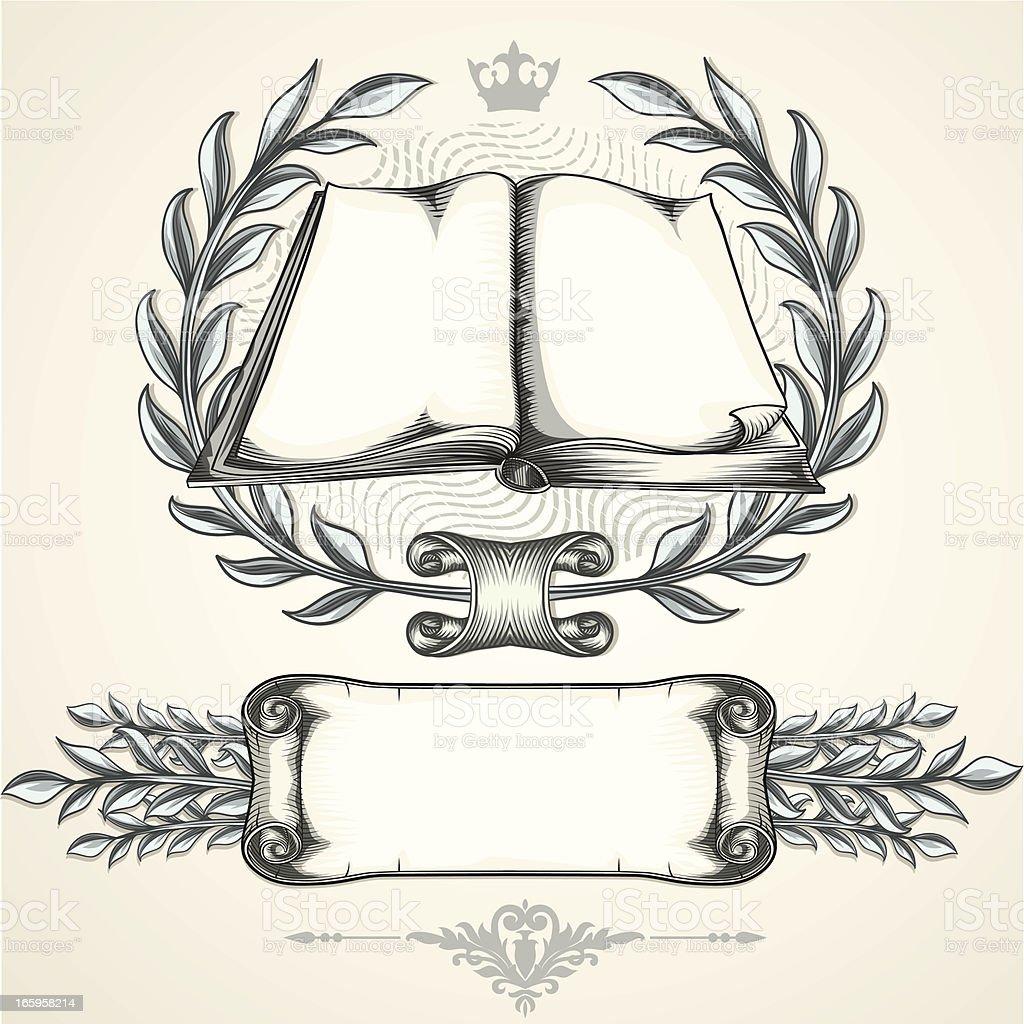 Book emblem & scroll vector art illustration
