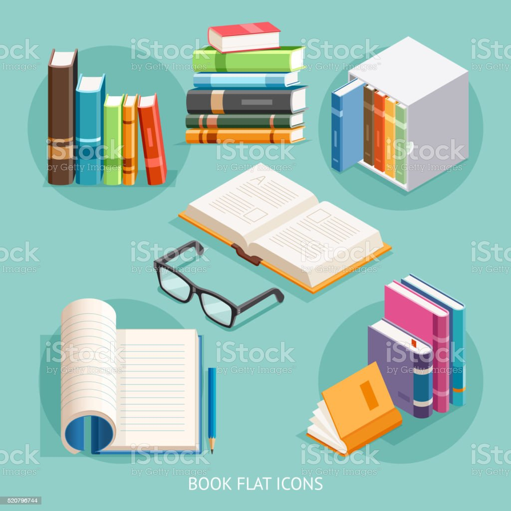 Book Flat Icons Set. vector art illustration