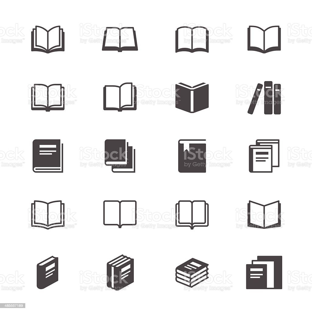 Book flat icons vector art illustration